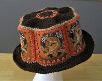 Crocheted Beer Can Hat - Shock Top