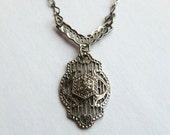 CUSTOM ORDER XB Art Deco Sterling Filigree Pendant Necklace Boho Bride Wedding Necklace