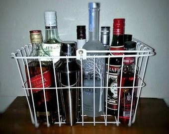 vintage metal wire basket bar