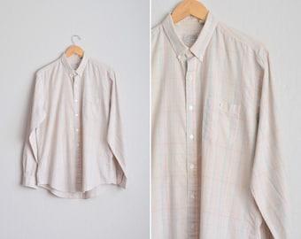 Size L // TAN PLAID OXFORD // Long Sleeve - Preppy - Button-Up Shirt - Vintage '80s.