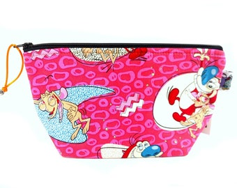Zippered NOTIONS BAG with zipper pull - Ren & Stimpy