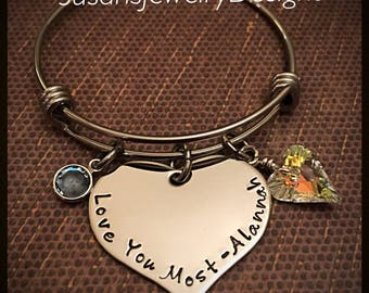 I Love You Most Bracelet with Name - stainless steel 1 sided disc & expandable bangle - Swarovski crystal heart - Swarovski channel crystal