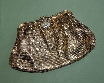 Whiting & Davis Purse Clutch Gold Mesh Vintage 2923 Rhinestone Clasp