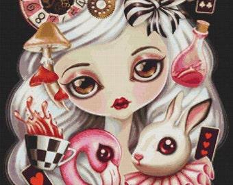CROSS STITCH KIT, modern art by Sandra Vargas 'Alicia', Alice in Wonderland, Counted cross stitch, White Rabbit, Fairy Tale Stitch Svalci4