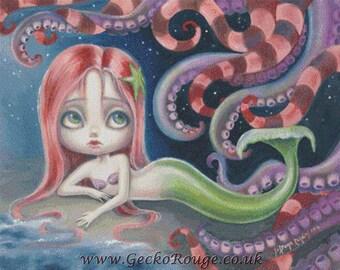Mermaid Cross Stitch, Simona Candini The Little Mermaid, Counted Cross Stitch Kit, Ariel cross stitch, Ocean Cross Stitch, Modern Art, DIY