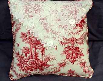 Cottage Chic Red Toile Decorative Pillow with Vintage lace, Vintage buttons with a beautiful red plaid back.