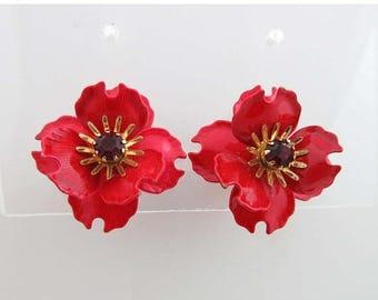SALE Coro Earrings Rhinestones Gold Clip On Backs Floral Flower Enamel Red 9031