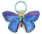 Special edition Leather keychain / key ring / bag charm - Blue butterfly with floral backing leather