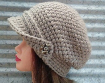 Chunky Crochet Slouch Hat with Buttoned Brim in Oatmeal