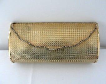 Vintage Gold Metal Clutch with Crystals Julius Garfinckel Washington
