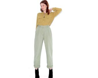 rare pale MILITARY GREEN high waisted IZOD pants xs / high waisted trousers high waisted pants pleated pants pleated trousers cotton pants