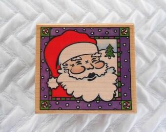 DESTASH - Rubber Stampede, Inc, Santa Square Christmas Stamp, Wooden Mounted Rubber Stamp, Card Stamp, Scrapbook Stamp