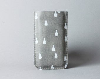 Iphone 7 or iPhone 6 leather case in grey colour with raindrops - raindrop case, iPhone 6 sleeve, minimalist phone case, gift under 30