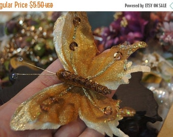 MARCH SALE Handmade Fabric Golden Bronze Patterned Satin Butterfly for Brooch Pendants or Hair - 3 inches - 1 pc