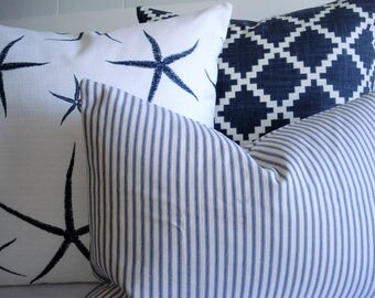 CHOOSE YOUR COORDINATES-Nautical Designs -Decorative Designer covers -Sea Stars- Geometric - Indigo / off white  Ticking  - Throw /Lumbar