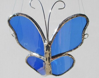 Blue 3D Butterfly - Upcycled Stained Glass Suncatcher Home Decor