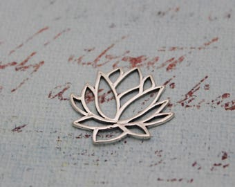 Sterling Silver Large Lotus Flower Pendant, Lotus Flower Charm, Sterling Silver Lotus Flower, I Piece