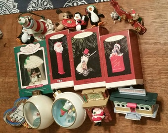 Vintage lot of fifteen - 15 - Hallmark Christmas ornaments  - 70s - 80s - 90s - plus 2 Hallmark ornament stands in original boxes
