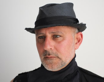 Men's hat. Black handmade from Toyo paper and resin. Classic summer hat. Minimalist mens fashion clothing for him.