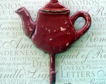 Teapot Hook Red Chippy Cast Iron Tea Pot Kettle Wall Coat Towel Leash Keys Shabby Style Chic Rustic French Country Distressed Kitchen Decor