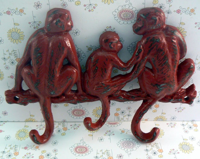 Monkey Red Cast Iron Three Hooks Wall Scarf Leash Hat Jewelry Hook 3 Hooks Shabby Style Chic Heritage Red Distressed Mom Dad Baby Monkies