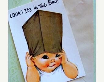 ON SALE Vintage Kitsch 1950s Antique  Unused Greeting Card Happy Birthday