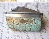 20% OFF Variscite Specimen Metalwork Pendant Necklace, Extra Long Large Turquoise Stone One of a Kind Necklace
