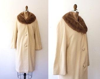 vintage cashmere coat / fur collar coat / Betty Rose coat