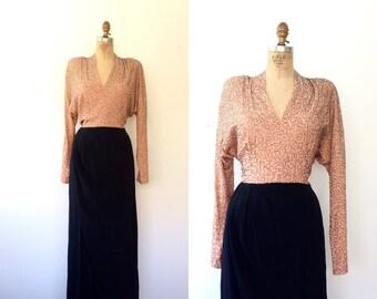 vintage 40s dress / 40s evening dress / Lena Beaded dress
