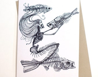 Skeleton Mermaid Card