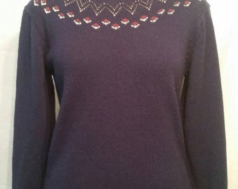 Vintage sweater, 42, soft, flowers and navy blue