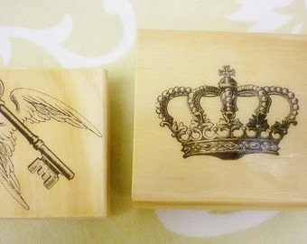 DESTASH 2 Wood Rubber Stamps,Crown Stamp,Key with Wings Stamp