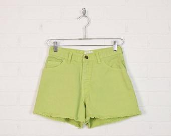 Vintage Lime Green High Waist Jean Shorts High Waist Denim Shorts Cut Off Jean Cutoff 80s 90s Grunge Shorts Festival Shorts 6 S Small 27