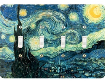 Starry Night Van Gogh Painting Quadruple Toggle Light Switch Plate Cover