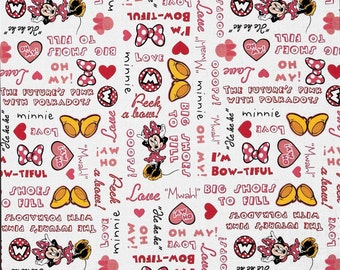 Fat Quarter Minnie Mouse Fabric Featuring Cute Phrases