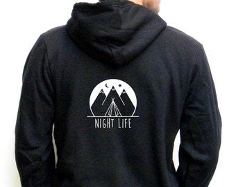 Mens Camping Hoodie - Bella Mens Hoody - Mens Sweatshirt  XS, Small, Medium, Large, Extra Large, 2XL