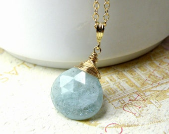 Natural Aquamarine Necklace, Gold Filled, Large Gemstone Pendant Teardrop Stone, March Birthday Gift, March Birthstone Ready to Ship Jewelry