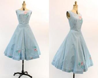 50s Dress Hand Painted Small  / 1950s Vintage Sky Blue Cotton Party Dress / Terrace City Dress