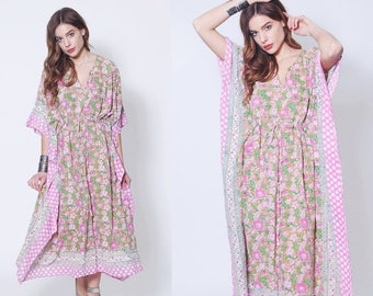 Vintage Pink Floral Caftan ANOKHI Dress BLOCK PRINT Indian Cotton Caftan Hippie Dress Boho Maxi Dress