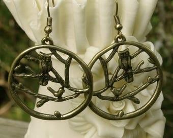 """Brass OWL Earrings, Antique Brass Finish , Dangle 1 1/4"""" - Fish Hooks,1990s Earrings"""