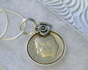 """50th Birthday or Anniversary-1967 US Dime Pendant and Necklace-18"""" Sterling Silver Chain-Coin Jewelry"""