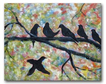 Colorful Birds Painting - Large Modern Art - Bird Silhouettes in Morning - Acrylic on Canvas - Sunrise Singers - Contemporary Wall Decor