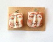 Terra Cotta Tumbleweed Fired Clay Face Findings Pair