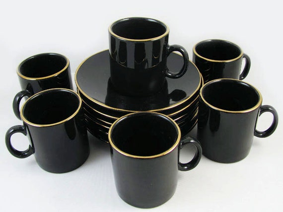 Vintage collectible black and gold set of 6 Nescafe Espresso demi tasse cup and saucer set 1994 JGP China / coffee