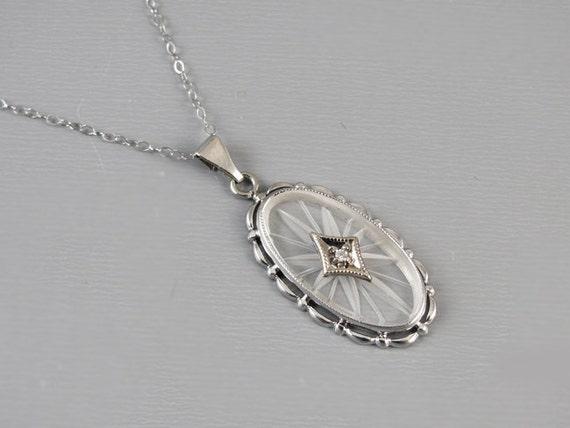 Antique Art Deco 10k white gold camphor glass and diamond pendant necklace