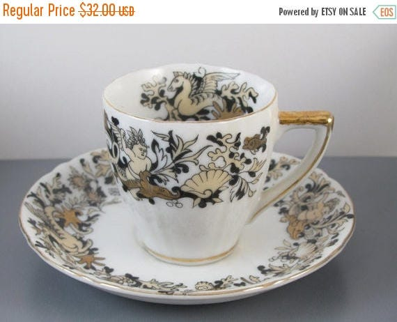 SPRING CLEANING SALE Vintage hand painted Ucagco Japan demitasse cup and saucer / sea life / ocean / gold / porcelain / china / bone china /