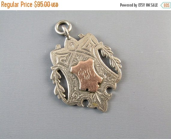SPRING CLEANING SALE 13.1 gram Antique Victorian English Birmingham sterling silver and rose gold fob for pocket watch chain 1899 signed Jos