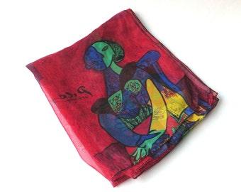 Picasso vintage Cubist Art Scarf / Colorful vintage Picasso Cubist Woman Print Sheer Long Scarf