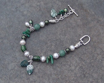 Sterling Silver, Freshwater Pearl and Jade Bracelet - Snow on the Trees