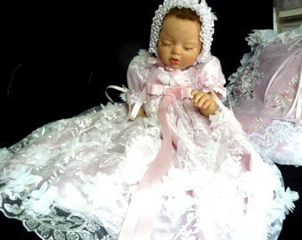 Pink 3D Floral Embroidered GOWN for REBORN Doll or NEWBORN BABy